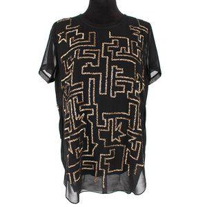 3.1 Phillip Lim Gold Sequin Short Sleeve Silk Top